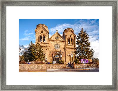 Facade Of Cathedral Basilica Of Saint Francis Of Assisi - Santa Fe New Mexico Framed Print by Silvio Ligutti