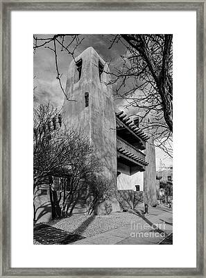 Facade Of New Mexico Museum Of Art In Bw - Santa Fe New Mexico Framed Print by Silvio Ligutti