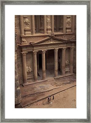 Facade Of The Treasury In Petra, Jordan Framed Print by Richard Nowitz
