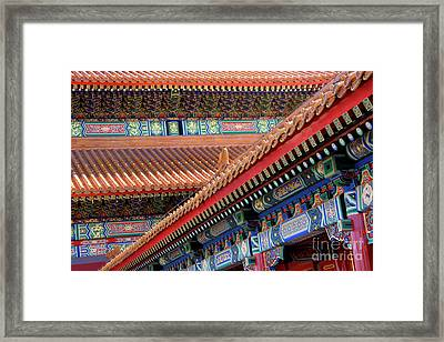 Facade Painting Inside The Forbidden City In Beijing Framed Print by Julia Hiebaum