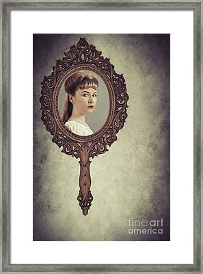 Face In Antique Mirror Framed Print