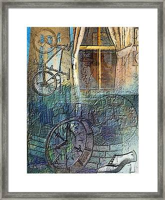 Face In The Window Embossed Montage Framed Print by Arline Wagner