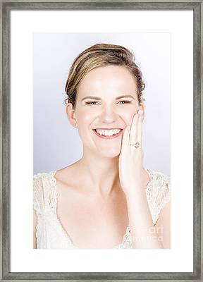 Face Of A Smiling Bride With Perfect Makeup Framed Print by Jorgo Photography - Wall Art Gallery