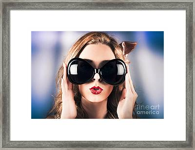 Face Of A Surprised Pinup Girl In Funny Sunglasses Framed Print by Jorgo Photography - Wall Art Gallery