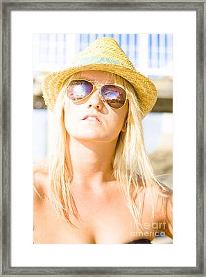 Face Of A Woman In Sunglasses On Holiday Framed Print
