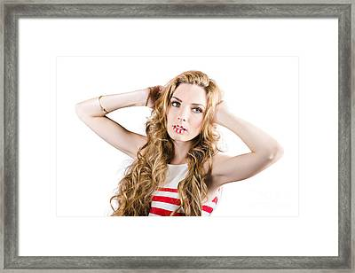 Face Of A Woman Wearing Colourful Make-up On Lips Framed Print