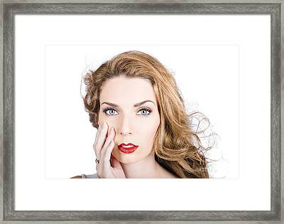Face Of An Attractive Young Girl. Cosmetic Model Framed Print