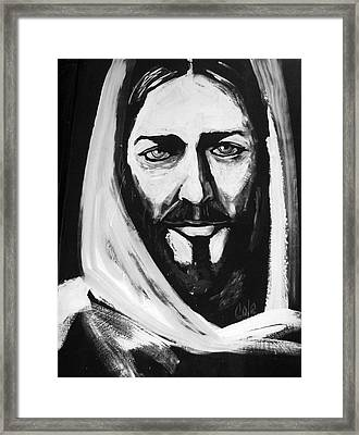 Face Of Christ Framed Print by Larry Cole