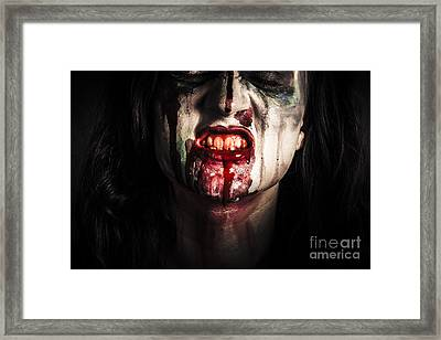 Face Of Dark Vampire Girl With Blood Mouth Framed Print