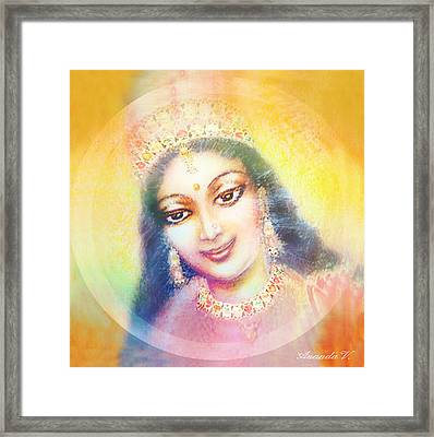 Face Of The Goddess - Lalitha Devi - Rainbow Colors Framed Print by Ananda Vdovic