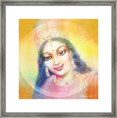 Face Of The Goddess - Lalitha Devi - Rainbow Colors Framed Print