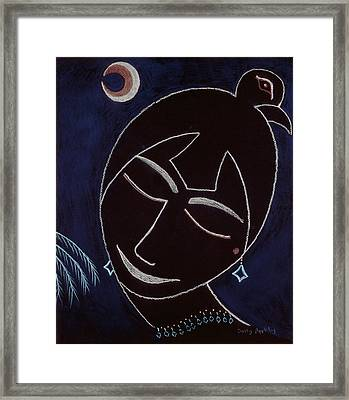 Face On Black Framed Print by Sally Appleby