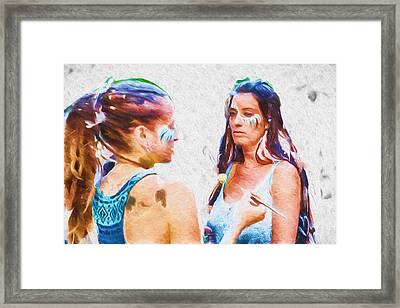 Face Paint And Feathers Framed Print
