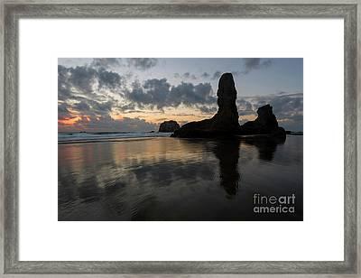 Face Rock Dusk Framed Print by Mike Dawson