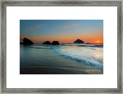 Face Rock Sundown Framed Print by Mike Dawson