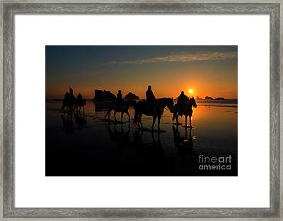 Face Rock Sunset Ride Framed Print by Mike Dawson