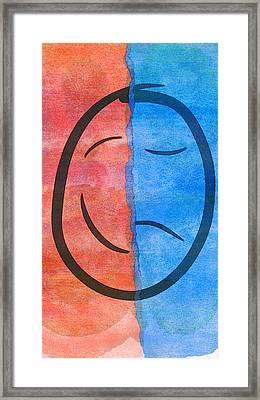 Face Sad Bipolar  Framed Print by PixBreak Art