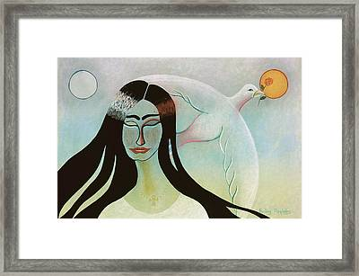 Face With Dove Framed Print by Sally Appleby
