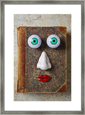 Facebook Old Book With Face Framed Print by Garry Gay