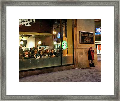 Framed Print featuring the digital art Faces At The Coffeehouse by Chris Flees