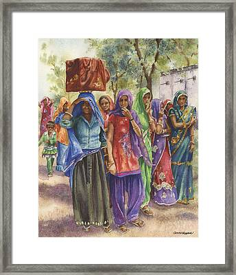 Framed Print featuring the painting Faces From Across The World by Anne Gifford