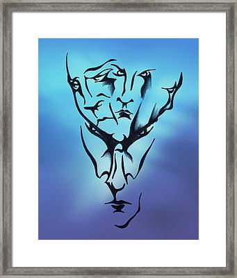 Framed Print featuring the drawing Faces by Keith A Link