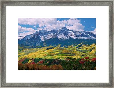 Facinating American Landscape Flowers Greens Snow Mountain Clouded Blue Sky  Framed Print by Navin Joshi