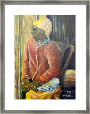 Framed Print featuring the painting Facing Freedom by Saundra Johnson