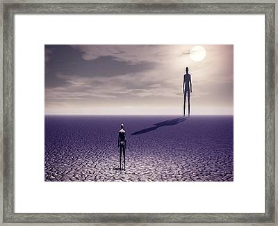 Framed Print featuring the digital art Facing The Future by John Alexander