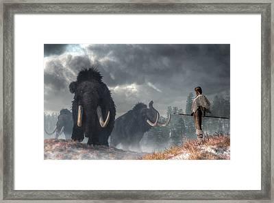 Facing The Mammoths Framed Print by Daniel Eskridge