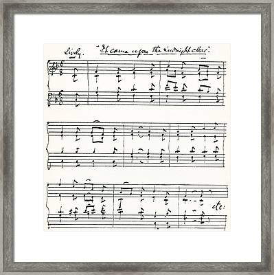 Facsimile Of The First Bars Of  It Came Framed Print by Vintage Design Pics