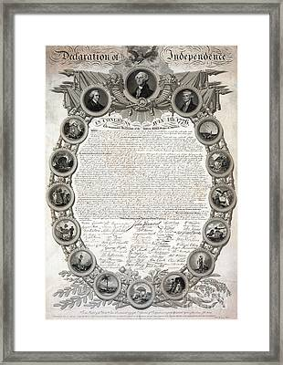 Facsimile Of The Original Draft Of The Declaration Of Independence 1776 Framed Print