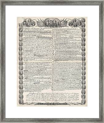 Facsimile Of The Original Draft Of The Declaration Of Independence Framed Print by American School