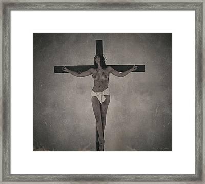 Faded Old Female Crucifix Framed Print