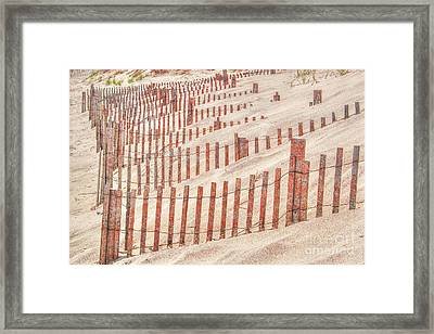 Faded Red Beach Fence  Framed Print
