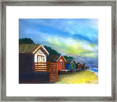 Beach Huts - Sold At Downlands Art Exhibition  Framed Print