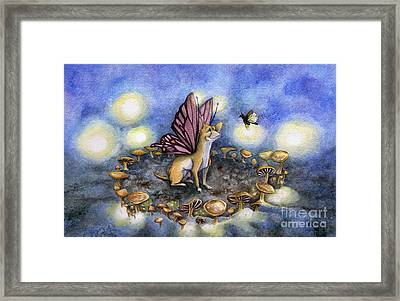 Faerie Dog Meets In The Faerie Circle Framed Print