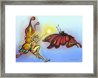 Framed Print featuring the painting Faerie N Butterfly by Kevin Middleton
