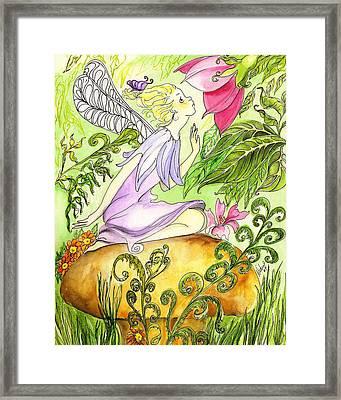 Faery On A Mushroom Framed Print