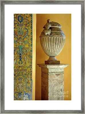 Faience Tiles And A Sculpted Vase Decorating The Patio Del Crucero In The Alcazar Of Seville Framed Print by Sami Sarkis