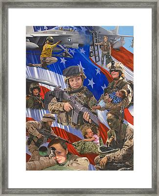 Fair Faces Of Courage Framed Print