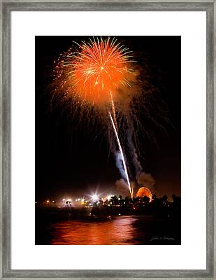 Fireworks As Seen From The Ventura California Pier Framed Print
