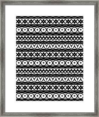 Fair Isle Black And White Framed Print by Rachel Follett