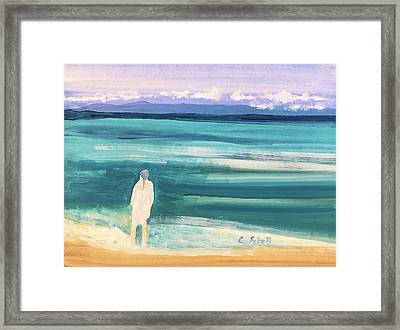Fair Skined Bather Framed Print