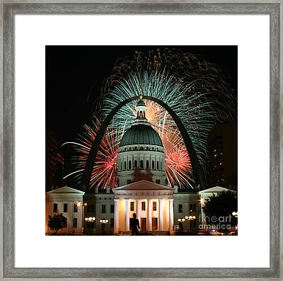 Fair St Louis Fireworks Framed Print by William Shermer