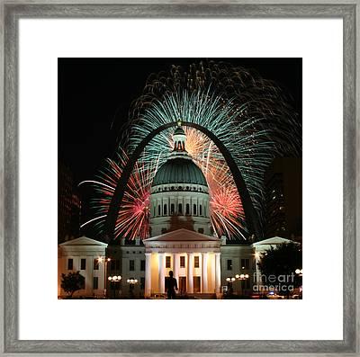 Fair St Louis Fireworks Framed Print by William Shermer