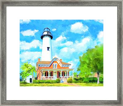 Framed Print featuring the painting Fair Weather On St Simons Island - Georgia Lighthouses by Mark Tisdale