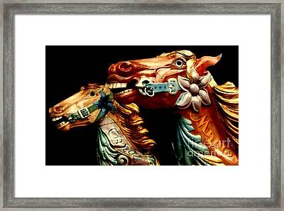 Fairground Horses At Jersey Framed Print by Michael Canning