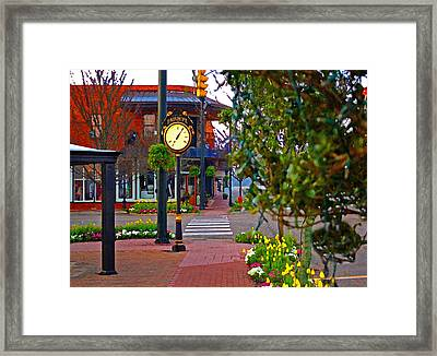 Fairhope Ave With Clock Down Section Street Framed Print
