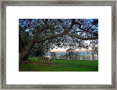Fairhope Swing On The Bay Framed Print